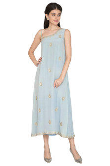 Grey Embroidered One Sided Gown by ETIKA SANCHETI