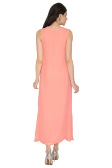 Peach Embroidered Sleeveless Gown by ETIKA SANCHETI