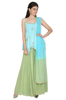 Sky Blue Embroidered Top With Green Skirt & Dupatta by ETIKA SANCHETI