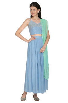 Powder Blue Embroidered Top With Skirt & Dupatta by ETIKA SANCHETI