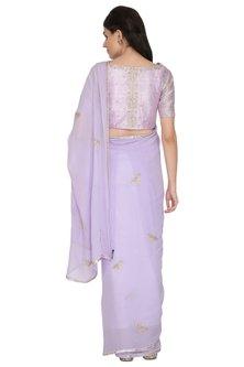 Lilac Embroidered Saree Set by ETIKA SANCHETI