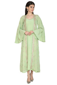 Green Gown With Embroidered Jacket by ETIKA SANCHETI