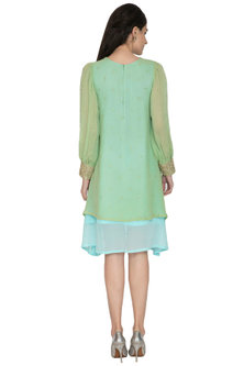 Green & Blue Embroidered Dress by ETIKA SANCHETI
