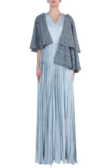 Grey Embroidred Cape with Jumpsuit by ETIKA SANCHETI