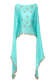 Sky Blue Nargis Embroidered Cape by Fancy Pants