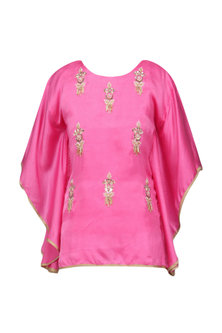 Light Pink Meera Embellished Cape Sleeves Top by Fancy Pants