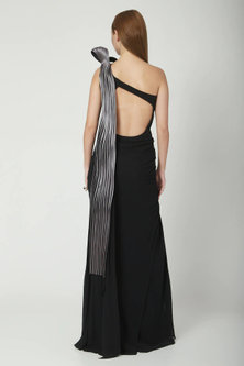 Black With Twilight Grey Saree Gown by Gaurav Gupta
