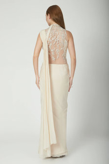 White Embroidered Draped Saree Gown by Gaurav Gupta