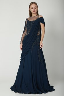 Midnight Blue Embroidered Lehenga Saree Set by Gaurav Gupta