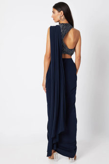 Midnight Blue Draped Saree Gown With Trouser Pants by Gaurav Gupta
