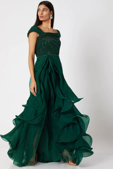 Dark Bottle Green Ruffled Gown by Gaurav Gupta
