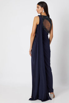 Galactic Blue Embroidered Saree Gown by Gaurav Gupta