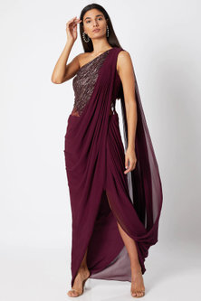 Berry Maroon Embroidered & Draped Saree Gown by Gaurav Gupta