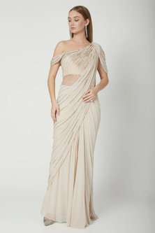 Beige Embroidered Draped Saree Gown by Gaurav Gupta
