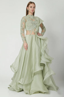 Mint Ruffled Lehenga Saree set by Gaurav Gupta