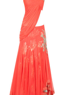 Orange draped blouse lehenga by Gaurav Gupta