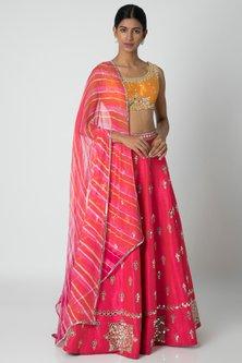 Pink & Orange Embellished Lehenga Set by Sounia Gohil-Shop By Style