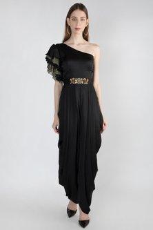 Black Embroidered Jumpsuit With Detailed Belt by Gunu Sahni