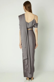 Grey Pre-Stitched Saree Set by Gunu Sahni