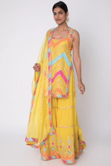 Yellow Embroidered & Hand Painted Kurta Set by GOPI VAID