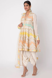 White Embroidered Angrakha Kurta With Dhoti Pants by GOPI VAID