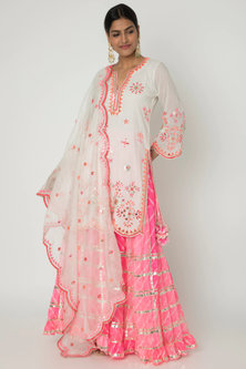 Off White Embroidered Sharara Set by GOPI VAID