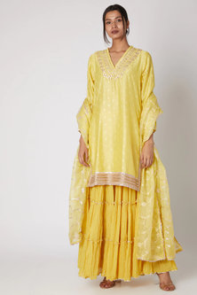 Yellow Embroidered Kurta Sharara Set by GOPI VAID