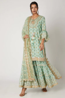 Green Embroidered Kurta Sharara Set by GOPI VAID