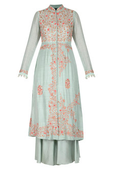 Mint Green Embellished Straight Kurta With Pants by Garo