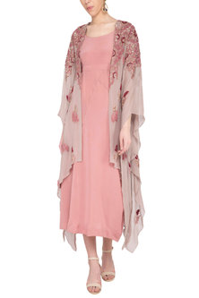 Pink drape and churidar pants with beige overlayer kaftan by Garo