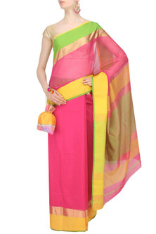 "Rose Pink Zari Embroidered ""Gulab"" Saree by 2584"