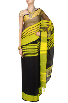 "Black And Chrome Yellow Zari Embroidered Striped ""Ghat"" Saree by 2164"