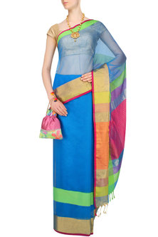"Turquoise Blue Zari Embroidered ""Narmada"" Saree by 2091"