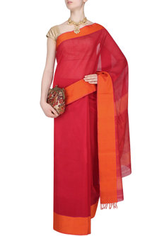 "Red And Sunset Orange Zari Embroidered ""Shringar"" Saree by 1925"