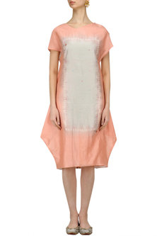 Peach Tye and Dye Kantha Embroidered Dress by I AM DESIGN