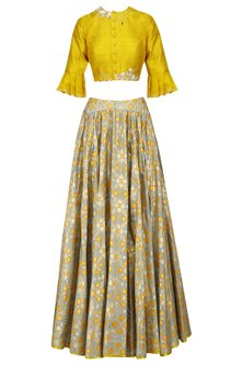 Mint Ikat Printed Skirt And Mustard Crop Top Set by I AM DESIGN