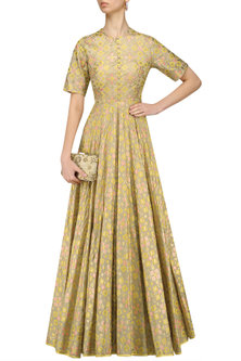 Golden Beige Ikat Print And Embroidered Back Gown by I AM DESIGN