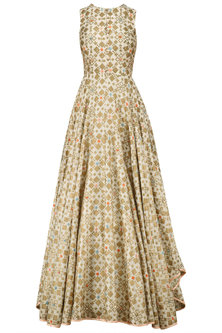 Ivory Ikat Print And Embroidered Back Gown by I AM DESIGN