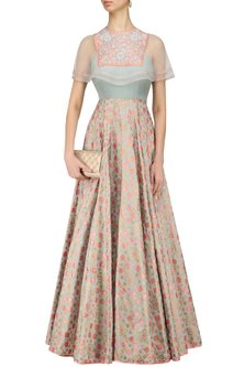 Mint Floral Embroidered And Ikat Print Cape Gown by I AM DESIGN