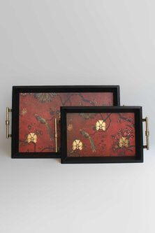 Maroon Wooden Gulbagh Tray by Karo