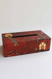 Maroon Gulbagh Tissue Box by Karo