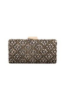 Black Embellished Box Clutch by Inayat