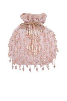 Blush Pink Embroidered Potli Bag by Inayat