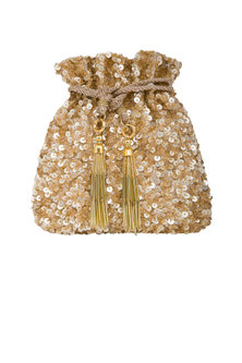 Gold Embroidered Potli Bag by Inayat