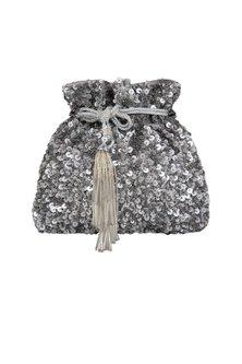 Charcoal Grey Embroidered Potli Bag by Inayat