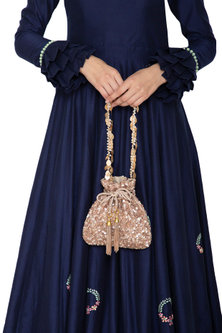 Rose Gold Embroidered Potli Bag by Inayat