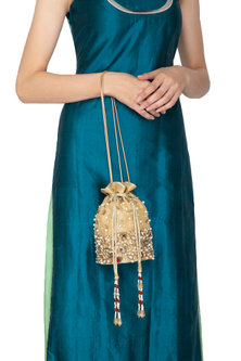 Gold Embroidered Silk Potli Bag by Inayat