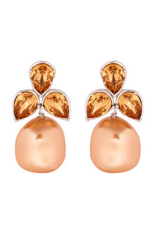 Gold Finish Petal Earrings With Crystals & Pearls by Isharya X Confluence