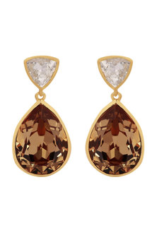 Gold Finish Classic Earrings With Swarovski Crystals by Isharya X Confluence