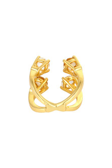 Gold Finish Crossover Finger Ring With Crystals & Pearls by Isharya X Confluence